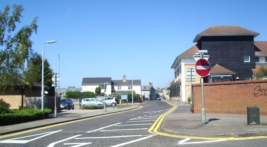 Saffron Road leading to Bonds Lane  & The Health Centre Aldi etc 2015